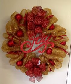 Deco mesh christmas wreath by TammysFlowersandmore on Etsy, $40.00
