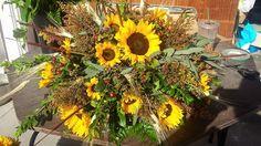 Sunflower country casket spray