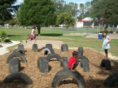 Tires in playground. We had this in primary school. So much fun. I'm gonna do this for Baby B and C the Bear.