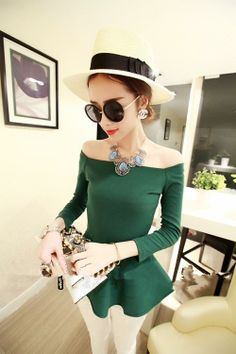 Women Sexy Fit and Flare Ruffled Hem Zip Long Sleeves Off Shoulder Top Tee Ladies Blouses  green   Size: AU 6 / US 2 / UK 6 / EU 34 Size measurement is in a Picture   --- Delivery Time --- to US  ePacket - 7-12 working days  to Rest of the World ChinaPost Air - 18-32 working days
