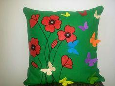 Handmade pillow, Poppies&Butterflies