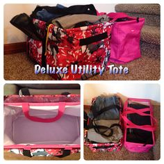 Thirty One gifts Deluxe Utility Tote bold bloom. Perfect for carrying more laundry up the stairs. Larger than the large utility tote and has two side handles and three pockets on the outside!