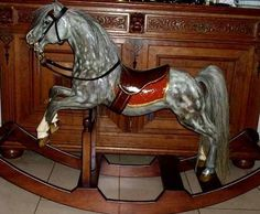 """Picasso   A new design which is totally different from """"regular"""" rocking horses.The result is a pony, 'taken' from the meadows for a little ride in the country. Real horse hair, leather reins, our bridle with a lined, leather front piece in the color of the saddlecloth and our own designed brass bit completes this horse. The model for this rocking horse was a pony which is a mixture between a Welsh Mountain pony and a Shetland pony. Rocking Horse & Art Design Holland"""