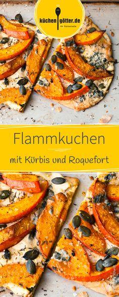 Die beste Art und Weise Kürbis zu verspeisen! Probiert diesen hauchdünnen Flammkuchen, verfeinert mit frischem Thymian, Kürbiskernen und würzigem Roquefort.