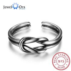 Unisex 925 Sterling Silver Ring Open Cuff with Knot Adjustable Ring Best Gifts For Girls JewelOra RI102675