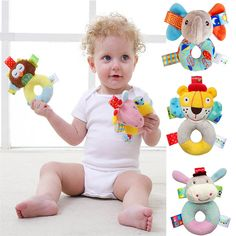 Cloth Cotton Baby Rattles Handle Bell Bed  Shake Rattle Hand Grasp Training