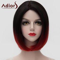 Llévalo por solo $50,600.Impresionante Negro degradado rojo corto Bob estilo recto peluca sintética universal para las mujeres.