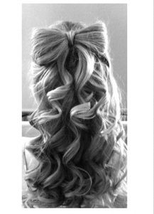 bow hair @Stephanie Close Arndt what do you think of this for flower girls? If they don't have much hair we could just do it all up on top of their little heads.