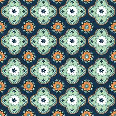 Silk Road - Orange and Mint fabric by jiah on Spoonflower - custom fabric - Fabric from yet another talented Australian designer
