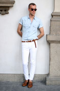 Wow! I love this! I really like that the sunglasses, belt and shoes are all very similar in color. The blue shirt and white pants pair together quite well and with the accent of the tan/brown color it's a gorgeous outfit.