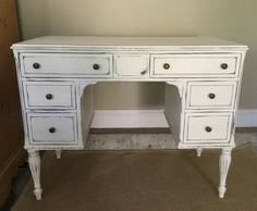 Gorgeous antique desk finished with #AnnieSloanChalkPaint #oldwhite waxed distressed and buffed.