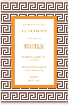 Greek Key Brown Orange Invitations