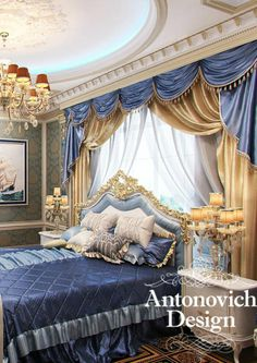 Antonovich Design - blue bedroom