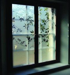 Etched Glass Bathroom Shutter Antonium Macgregor Shutters for Sliding Glass Door Blinds Glass Partition Designs, Window Glass Design, Frosted Glass Window, Etched Glass Door, Etched Glass Windows, Glass Etching Designs, Glass Painting Designs, Sliding Door Design, Sliding Glass Door