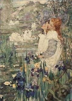 By The Lily Pond, 1900, Edward Atkinson Hornel. Scottish (1864 - 1933) - Oil on Canvas -
