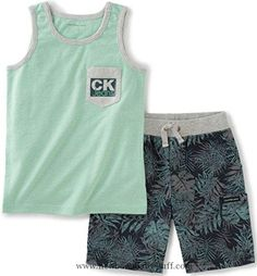 Baby Boy Clothes Calvin Klein Baby Boys' 2 Pieces Tank Top Short Set, Green, 18M