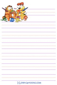 Free Printable Garfield and Odie Cartoon Easter Stationary and ...