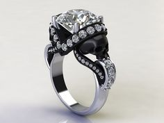 sapphire studios direct 'Aphrodite' 1.70ct Certified Natural Diamond Skull White Gold Engagement Ring