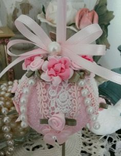 Shabby sugared glass Christmas ornament, pink cabbage roses, Venice lace, pearls