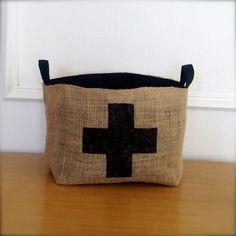 X Large Coffee Sack Basket - Black Swiss Cross. $39.99, via Etsy.