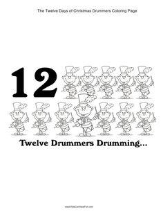 12 Days Of Christmas Twelve Drummers Drumming Coloring Page Kidscanhavefun