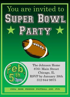 Superbowl invitations super bowl party invitations for Super bowl party invitation template