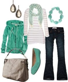Such a cute casual outfit for Allie ...minus the ear rings. Could also work for Danielle since she likes hoodies.