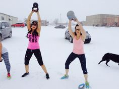 We rock-- working out in the snow in Oklahoma!