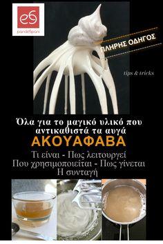 Ένας πλήρης οδηγός για την ακουαφάβα - aquafaba -, το μαγικό υλικό που αντικαθιστά τα αυγά σε πολλές γλυκές και αλμυρές συνταγές. Τι είναι ακριβώς, πως λειτουργεί, που και γιατί, με ποιες αναλογίες χρησιμοποιείται, γιατί η σπιτική είναι καλύτερη και πως γίνεται εύκολα και σωστά. Aquafaba, Icing, Vegan, Desserts, Food, Tailgate Desserts, Meal, Dessert, Eten