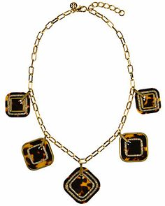 """Tory Burch """"McCoy"""" Plated Crystal & Resin Necklace $325.00$149.90"""