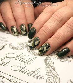 Photo Military Nails, Army Nails, Camo Acrylic Nails, Acrylic Nails Coffin Short, Elegant Nail Designs, Nail Art Designs, Camo Nail Designs, Olive Nails, Camouflage Nails