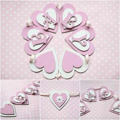 Personalised Baby Girl Pink & White Wooden Heart Bunting Decor Christening Gift