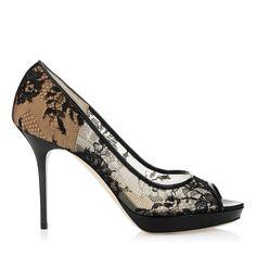 Black Lace Platform Pumps | Designer Peep Toe Shoes | Luna | JIMMY CHOO Shoes