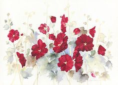 Original Watercolors by Lyn Snow: Hollyhocks