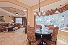 """Traditional Dining Room with Pendant light, High ceiling, Casablanca 54024 Acadia Concentra 54"""" 5 Blade Ceiling Fan"""