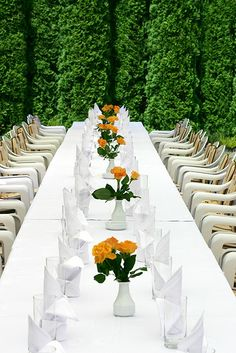 Long Tables for Your Wedding. These chairs are so much better than the usual style
