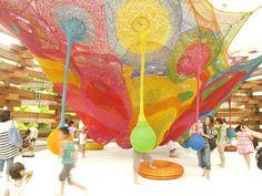 colourful climbing net playground designed by artist Toshiko Horiuchi Macadam