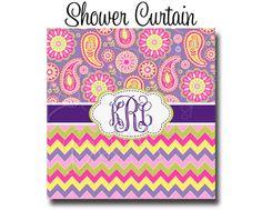 Custom Personalized Monogram Shower Curtain By HaveFaithBoutique Bath Mat Paisley Chevron Relax