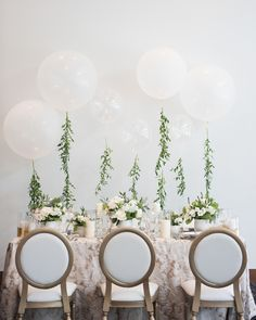 Greenery and white balloons wedding decor | Wedding Tablescape | Classic Greek Wedding Inspiration With A Modern Twist - Alicia Campbell Photography