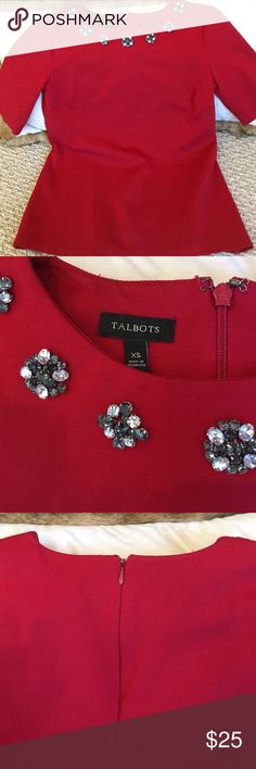 Talbots Gem Necline Top XS Valentine romance in a sophisticate Talbots's top - like new. Heavy cotton knit with zip back. Talbots Tops