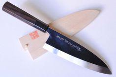 YOSHIHIRO-Honyaki Mirror-Finished Ebony Deba Sashimi Chef Knife 7″ 180mm -MADE IN JAPAN
