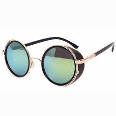 c8049febbf7 Fashion Round Steampunk Sunglasses Women Metal Frame Retro Circle Sun  Glasses Men Rock Sunglass Mirror Goggle