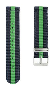 Apple Watch NATO Band - Navy Blue & Green Woven Nylon Band (38mm Black). The original NATO strap designed for your smartwatch: Apple Watch, Android Wear & Pebble. Woven, double layered and heat sealed ballistic nylon - it comes with a Lifetime Warranty. Patent Pending design using quick-release pins.