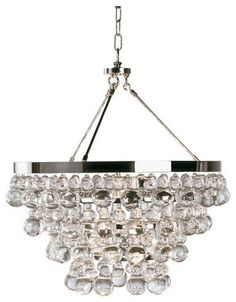 """Bling Chandelier by Robert Abbey - $869.00   Polished Nickel Z1000 - Deep Patina Bronze Material(s): glass, steel  Dimensions: 20.5""""Dia X 22""""H 25.25""""Min Drop - 61.25""""Max Drop Lamp  Type: incandescent Bulbs: 4 X 60W B11 torpedo base incandescent lamps (not included)"""