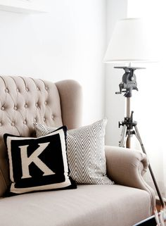 Kelly likes pillows with couch for LR. (Initial pillow- great choice in initial as well! Who loves this pillow and wants one in their own initial? Monogram Pillows, Letter Pillow, Chevron Pillow, Initial Cushions, Initial Art, Chevron Monogram, Letter Monogram, Monogram Gifts, Black White