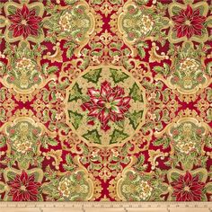Holiday Flourish Metallic Large Medallion Crimson Red from @fabricdotcom  Designed by Peggy Toole for Robert Kaufman, this cotton print fabric is perfect for quilting, apparel and home decor accents. Colors include cream, red, green and gold. Features gold metallic accents throughout.