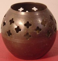 VINTAGE PERFORATED BRASS VOTIVE BALL CANDLE HOLDER