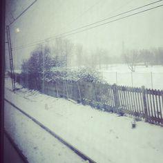 Un treno, il finestrino e... tutto il resto è bianco. [ieri nei pressi di #ArquataScrivia #Piemonte!] #neve #instagram