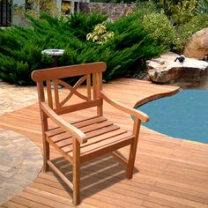 Vifah Modern Patio Outdoor Eucalyptus Wood Arm Chair with X Back Design #armchair #chairs #outdoorchair