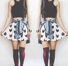 Cat Skater Skirt, Black Crop Top, Denim Shirt tied around waist, maroon knee high Socks